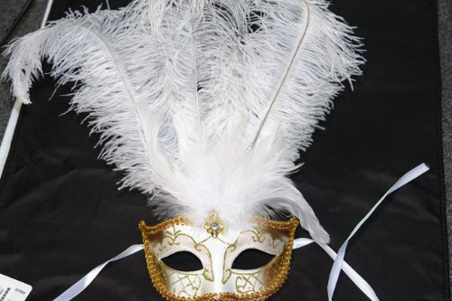 Venetian Style Mask with White Feather in White & Gold Pattern