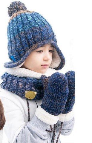 dbdde78b74e Buy New 2017 hats scarf gloves three - piece warm autumn winter boys girls  baby caps collars sets tide kids (Blue