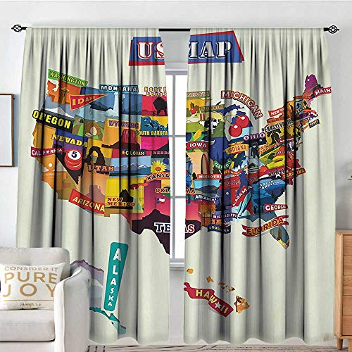 Jersey Pinstripe Field - NUOMANAN Blackout Curtains Wanderlust,US Map Seashore and Sunflowers Tourist Attractions Jersey Cow Milk Corn Field,Multicolor,Rod Pocket Drapes Thermal Insulated Panels Home décor 84