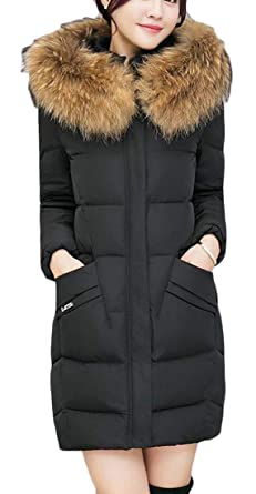 b225eb1600b9b Cromoncent Women Winter Thicken Faux Fur Hooded Quilted Down Jacket Parka  Coat Black XS