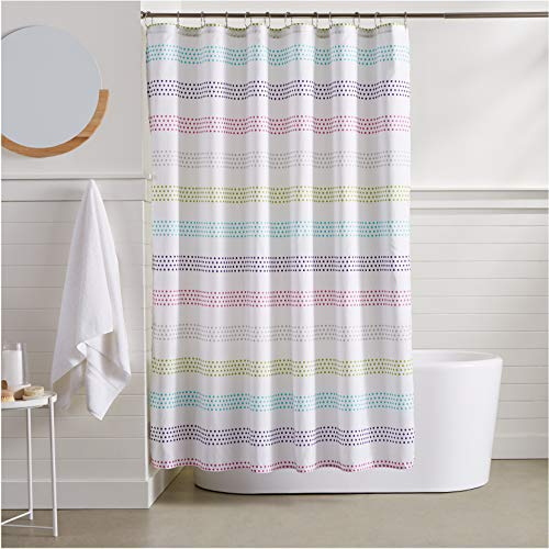 AmazonBasics Pastel Striped Shower Curtain - 72 Inch (Curtain Gray Shower Striped)