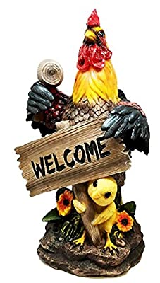 Large Farm Barnyard Rooster and Chick Apprentice Home Welcome Sign Sculpture Statue