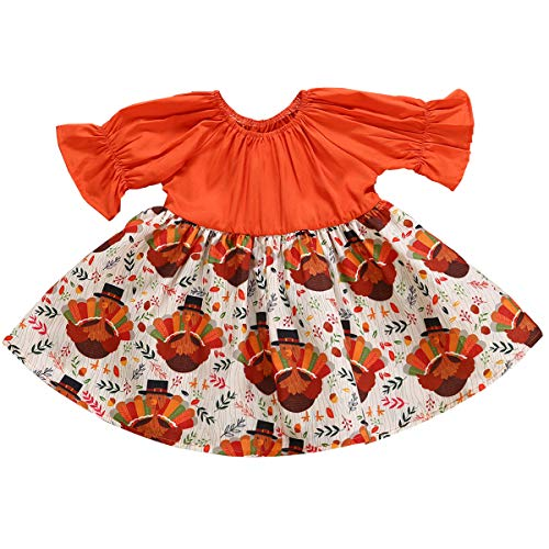 YOUNGER TREE Infant Baby Girl Funny Cartoon Turkey Pattern Orange Dress Long Ruffle Sleeves Thanksgiving Costume One Piece Outfit (6-12 Months, Orange) ()