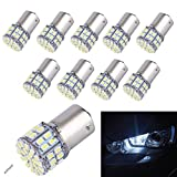 10-Pack Super Bright 1156 1141 1003 50-SMD White LED Bulbs For Car Rear Turn Signal lights Interior RV Camper