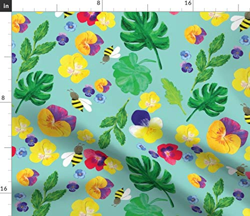 Summer bee Fabric - Summer Botanical Bee + Flower Bee Pansy Floral Spring Wildflower Herb Garden Flower Summer by Canigrin Printed on Petal Signature Cotton Fabric by The Yard