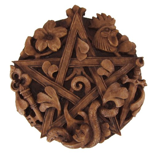 Cimaruta Pentacle Wall Plaque Wood Finish - Pentacle Wall