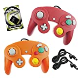 Koalud 2 Packs NGC Wired Gamepad Controllers with 2 Extension Cables 1.8m and 128mb Memory Card for Nintendo Wii GameCube Game Cube GC Console(Red and Orange)