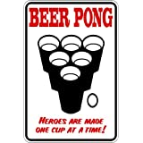 BEER PONG : Heros Are Made 1 Cup At A Time - Dorm Room Picture Art Sign - Peel & Stick Sticker - Vinyl Wall Decal - Size : 8 Inches X 16 Inches - 22 Colors Available