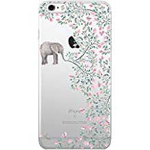 iPhone 6 Plus / 6S Plus Transparent Gel Case Flower Ultra Slim Thin Bumper Anti-scratch Soft Cover TPU Shell (elephant flowers)