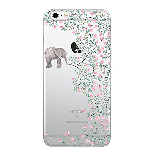 Price comparison product image iPhone 6 Plus / 6S Plus Transparent Gel Case Flower Ultra Slim Thin Bumper Anti-scratch Soft Cover TPU Shell (elephant flowers)