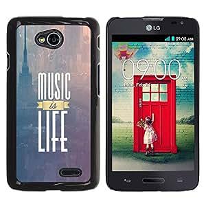 Paccase / SLIM PC / Aliminium Casa Carcasa Funda Case Cover para - Music Is Life New York Text Purple Fog - LG Optimus L70 / LS620 / D325 / MS323