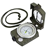 LiNKFOR Multifunction Military Compass Waterproof Military Metal Sighting Compass For Hiking Camping Climbing Biking Army Green