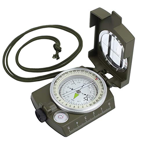 (LiNKFOR Multifunctional Military Aluminum Alloy Waterproof Compass Army Metal Sighting Compass for Hiking Camping Climbing Biking Motoring, Boating, Backpacking)