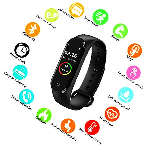 SBA999 ABM412 M4 Bluetooth Wireless Smart Fitness Band for Boys/Men/Kids/Women   Sports Watch Compatible with Xiaomi, Oppo, Vivo Mobile Phone   Heart Rate and BP Monitor, Calories Counter