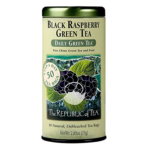 The Republic Of Tea Black Raspberry Green Tea, 50 Tea Bags, Healthy Summer Fruit Tea