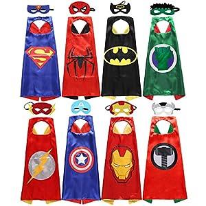 Sholin Kids Superhero Dress Up Costumes Satin Capes with Felt Masks Set of 8