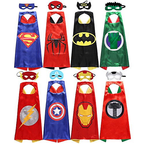 Kids For Pinata Costume (Sholin Kids Superhero Dress Up Costumes Satin Capes with Felt Masks Set of)