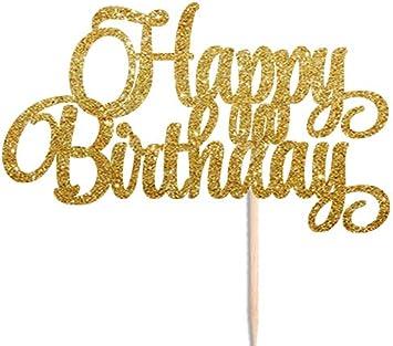 Tortenaufsatz Happy Birthday Aus Gold Glitzer 16 18 21 30 40 50 60 70 80 Geburtstag Party Toppers Cupcake Toppers Spielzeug