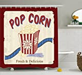 Ambesonne Movie Theater Shower Curtain, Fresh and Delicious Pop Corn Film Tickets and Strip Advertising in 60s Theme, Cloth Fabric Bathroom Decor Set with Hooks, 70 inches, Multicolor