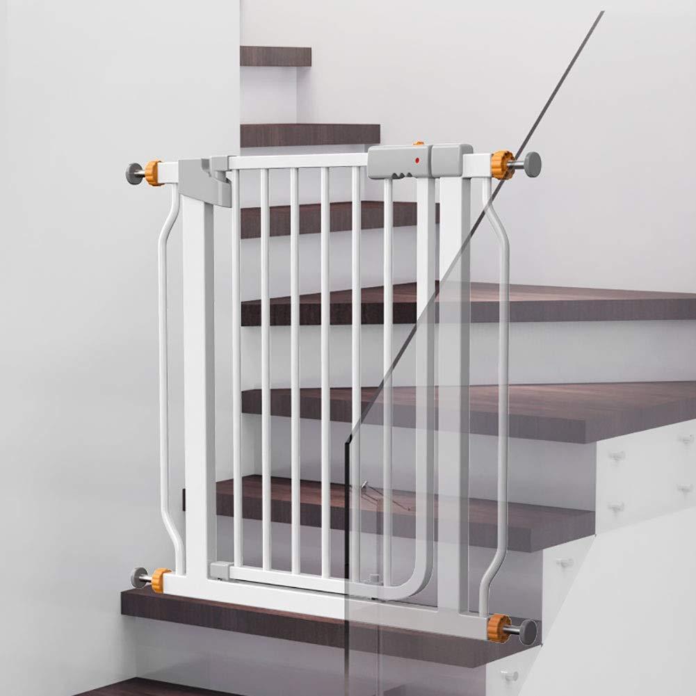 ベビーゲート ベビーセーフティオートゲート ホワイト [自動開閉]、プレッシャーマウント階段用ベイビーゲート、犬用ウォークスルードア付きウォールプロテクターペットゲート、幅76-83cm、高さ78cm   B07QBMPXLD