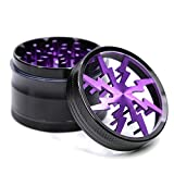 4 Piece 2.5'' Aluminum Lightning Pattern Clear Top Herb Grinder (Purple)