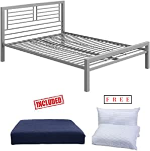 Amazon.com: Your Zone Full Size Silver Metal Platform Bed ...