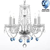 "AUTHENTIC ALL CRYSTAL CHANDELIER CHANDELIERS LIGHTING WITH SAPPHIRE BLUE CRYSTAL HEARTS! PERFECT FOR LIVING ROOM, DINING ROOM, KITCHEN, KID'S BEDROOM! H17"" W17"""