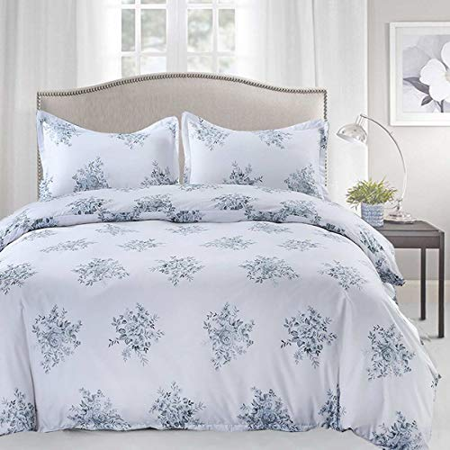 TIFFICO Duvet Cover Set Queen Size - 3 Pieces Floral Leaf Vintage Flower Microfiber Soft Lightweight Down Duvet Comforter Quilt Bedding Covers with Zip Ties - 90x90 inch for Women Men, White Blue
