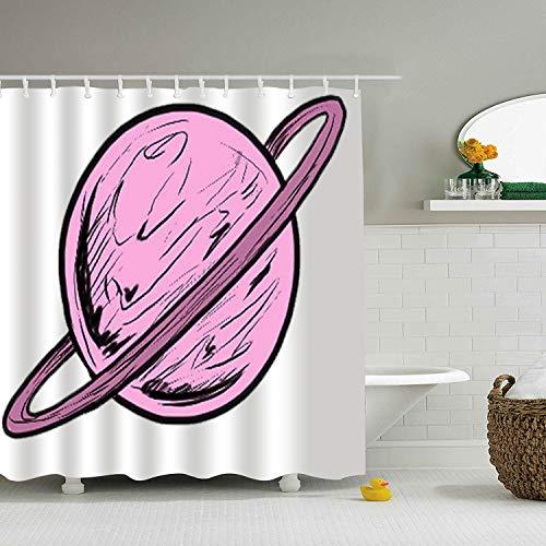 Qilrocm Saturn Planet House Decor Waterproof Shower Curtain Printed Bath Decor Curtain 71 × 78
