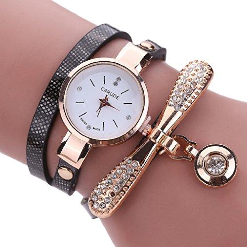 Hosamtel Ladies Quartz Rhinestone Wrist Watches Leather Strap Analog Watch (Black)