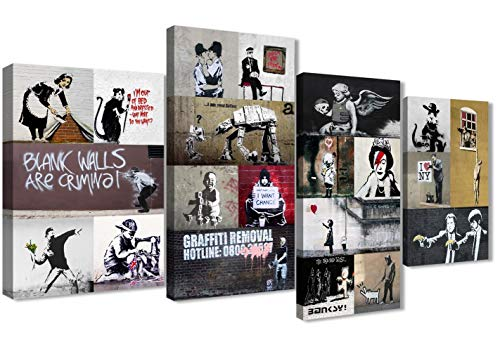 Banksy Wall Art Framed Collage Canvas Set of Prints - Modern Living Room Artwork Decor - 4500 - Large 51