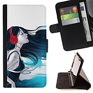BullDog Case - FOR/HTC One M9 / - / headphones girl music waves art note love /- Monedero de cuero de la PU Llevar cubierta de la caja con el ID Credit Card Slots Flip funda de cuer