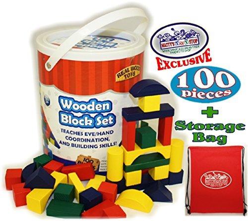 Blocks Bucket (Deluxe Wooden Colored Building Blocks 100 Piece Set with Bucket & Exclusive Storage Bag - 100% Real Wood)