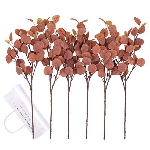 YUYAO Artificial Plants Silver Dollar Eucalyptus Leaves 6Pcs Leaf Silk Artificial Greenery Stems Fake Plants Leaves for Home Wedding Party Decoration (Maple Red)