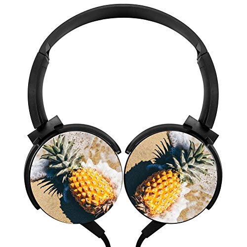 Beach Pineapple Stereo Headphone Wired Portable Headset Black Earphone Earpiece With Mic