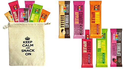 Kind Pressed Bars - 6 Flavor Fruit and Veggie Bar Variety Pack (Pack of 12) with One Organic Snack Pouch 9 x 7 Reusable Snack Pouch (6 Flavors- 12PK)