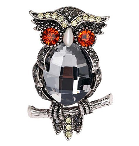 Hosaire Brooch Pin Women's Vintage Color Owl Rhinestones Breastpin for Wedding/Banquet/Bouquet