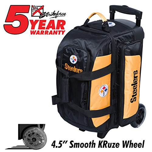 KR Strikeforce Bowling Bags Pittsburgh Steelers 2 Ball Roller Bowling Bag, Multi