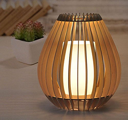 DGS Modern Simple And Environmentally Friendly Bamboo Table Lamp Home Bedroom Lighting Decorative Lights Solid Wood Bird Cage Decorative Table Lamp (330 × 360Mm) (Bamboo Friendly Fence)
