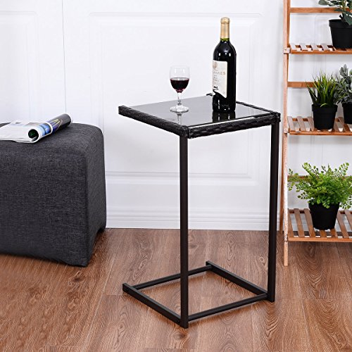 Tangkula C-Shape Snack Table Steel Construction Rattan PE Wicker Square Glass Top Sofa Side Table Console Table Accent Table End Table Furniture for Home ()