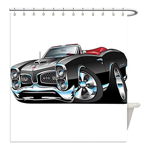 Argos Costumes Fancy Dress (Liguo88 Custom Waterproof Bathroom Shower Curtain Polyester Decor Fancy American Nostalgic Sports Muscle Car With Speeding Wheels Wealthy Tires Symbol Artsy Print Decor Black Decorative)