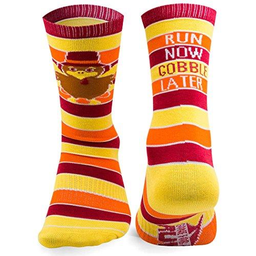 Run Now Gobble Later   Running Woven Mid Calf Socks by Gone For a Run   Thanksgiving Socks   Large (Thanksgiving Socks)