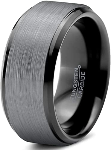 Tungsten Carbide Rectangular Faceted Comfort Fit Half-Round Band Ring