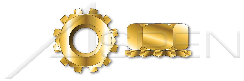 A//F=5//16 Steel #8-32 5000 pcs Hex K Lock Keps Nuts Small Pattern Yellow Zinc