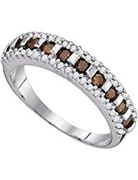 10k White Gold Brown Diamond Fashion Band Cocktail Ring Stackable Chocolate Fancy Style 1/2 ctw