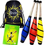 Pro BEACH Juggling Clubs Set of 3 + Mr Babache Juggling Club Booklet + Flames N Games Travel Bag! Great Juggling Clubs For Beginners & Advanced Jugglers! (RED/YELLOW/BLUE)