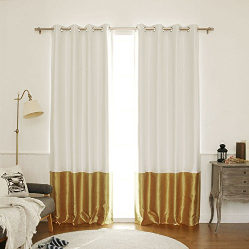 Best Home Fashion ColorBlock Faux Silk Blackout Curtain - Stainless Steel Nickel Grommet Top  - Gold - 52