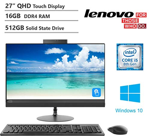 KKE Upgrades 2020 IdeaCentre AIO 520 27″ Touchscreen QHD(2560×1440) All in One Desktop Computer, Intel Hexa-Core i5-8400T, 16GB DDR4 RAM, 512GB PCIe Solid State Drive, DVDRW, Wireless-AC, Windows 10