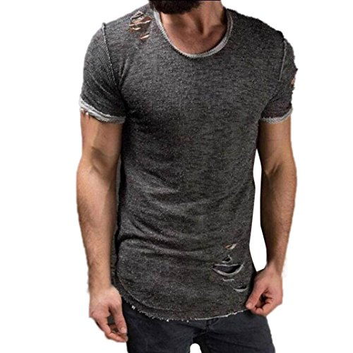 Price comparison product image Gocheaper Fashion Hole Round Collar T Shirt,Men Tees Shirt Short Sleeve Blouse Tops (L, Gray)