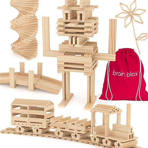 Brain Blox Wooden Building Blocks for Kids - Building Planks Set, STEM Toys for Boys and Girls (200 Pieces) ()